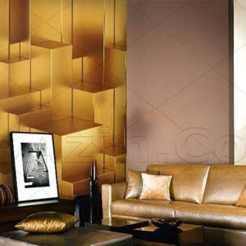 فروشگاه کاغذ دیواری سه بعدی تصویری مناسب پذیرایی طرح طلایی