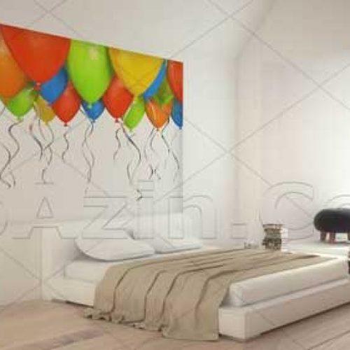 کاغذ دیواری سه بعدی چاپی تصویری مناسب اتاق خواب طرح بادکنک